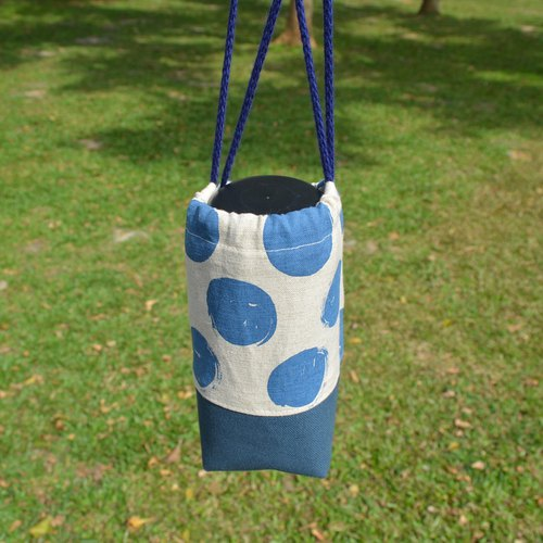 Blue dots beverage bag/water bottle holder/beverage carrier/bunch pocket