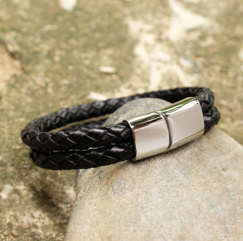 Bracelet - Soulmate Leather Bracelet - Black (Genuine Cow Leather) / 皮手镯