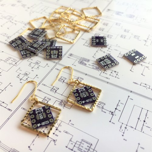 【Electronic parts】Violet PCB(non-beads)Earrings