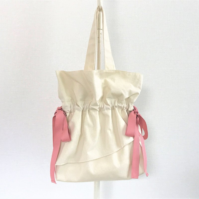 Ruffle Airy Flair Handle Purse Petite Bag Ivory Beige