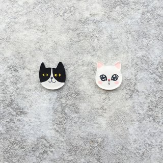 ✦Pista hill hand painted earrings ✦ Animals - Black Cat + White Cat