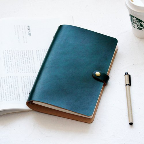 Such as the first layer of vegetable tanned leather dark green uniform dyeing A5 loose-leaf notebook handbook diary notebook leather notebook