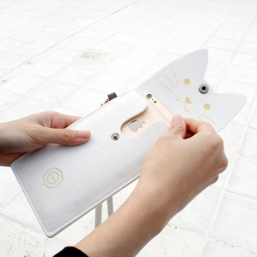 Open a cat - cat mobile phone package Portable package / neck strap - White Cat white cat