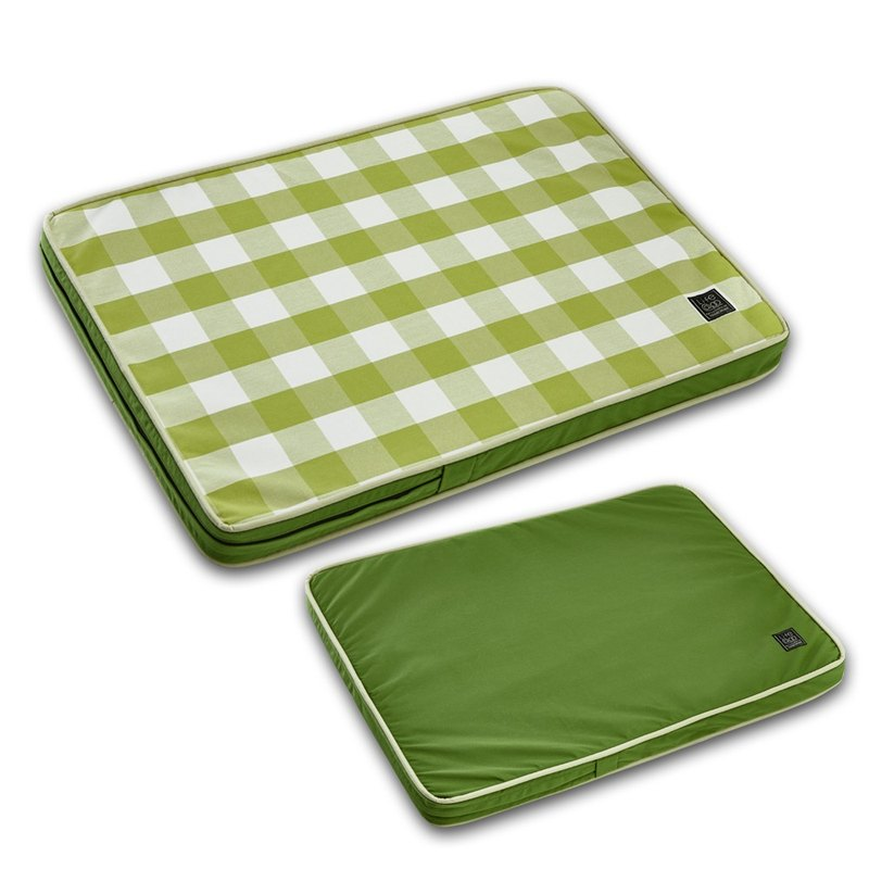 Lifeapp Pet Relief Sleeping Pad Large Plaid---M (Green White) W80 x D55 x H5 cm