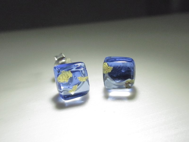 × | Gold Foil Series | × Glass Earrings - STB Water Blue - [] type