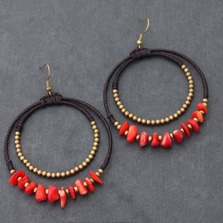 Coral Brass Bead Woven Hoop Earrings Stone Chandelier Dangles Earrings