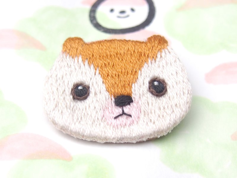 *Small animal head embroidery brooch*Mole Flying squirrel