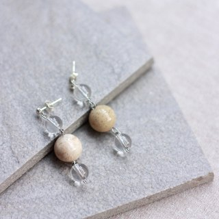 Coral Stone and White Crystal - Sterling Silver Ear Pin