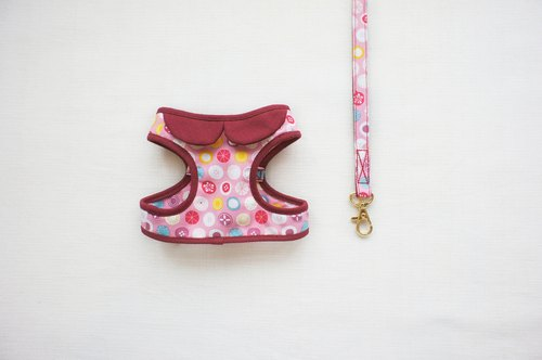 Can be customized. Cherry fruit color composition walking small circle 1 <Harnesses + leash>