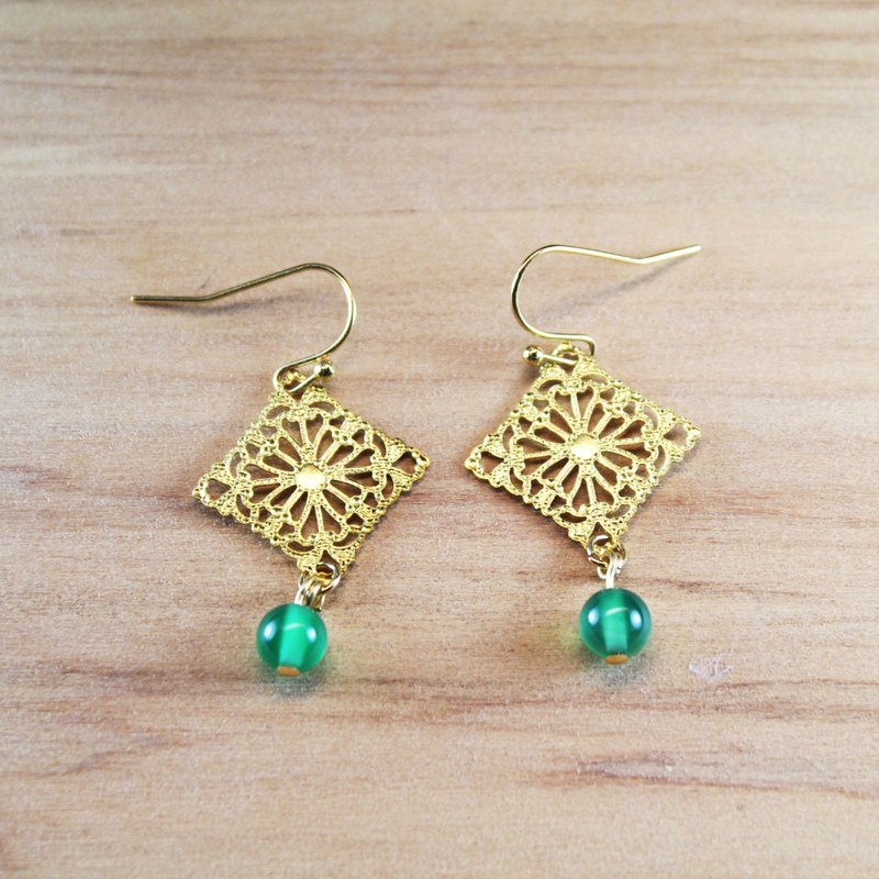 【Collection of gold lake】 square flower earrings dark green section | clip-on earrings earrings can be changed for sterling silver needles | green agate | brass | natural stone earrings, Chinese ancient wind ornaments E29