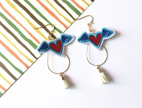 magichands embroidery love wings lovely tassel earrings ear clip