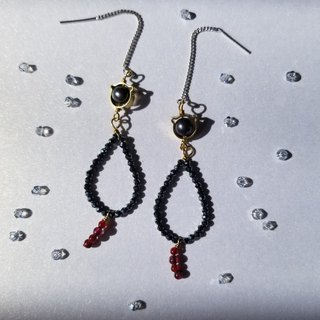 Princess of Cat: Black meow Charm w/ Gems Earrings (/hk/meow/925 Silver)