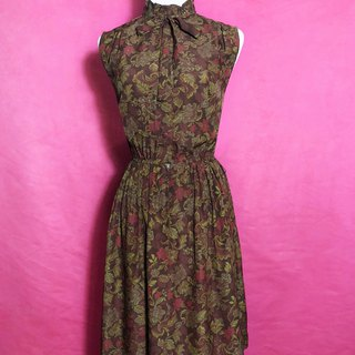 Classical flower bow tie sleeveless vintage dress / abroad brought back VINTAGE