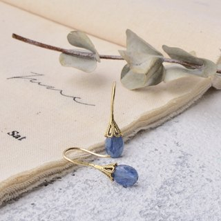 Handmade earrings in brass with kyanite
