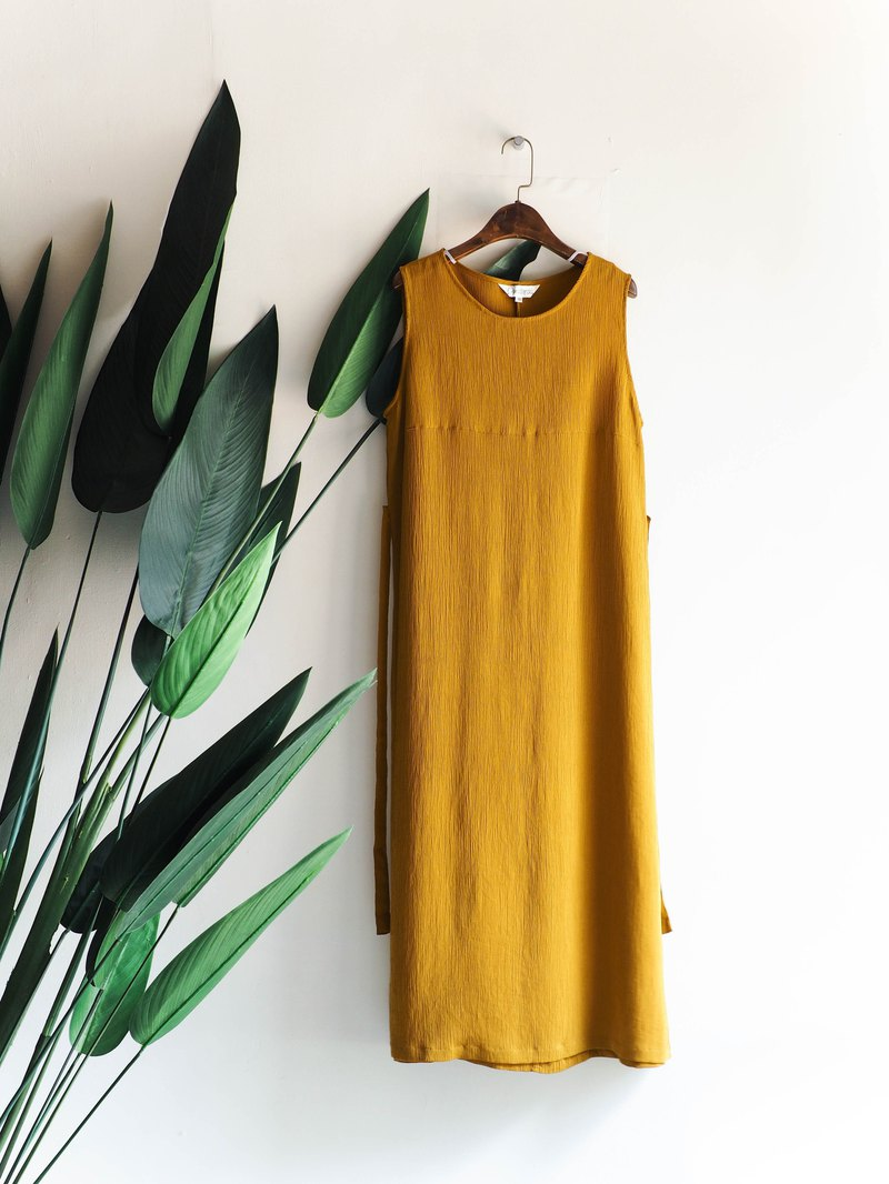 Heshui Mountain - Shiga Mustard Yellow Wood Pattern Simple Afternoon Time Antique One Piece Dress Dress Dress