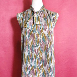 Bow tie textured sleeveless vintage shirt / Bring back VINTAGE abroad