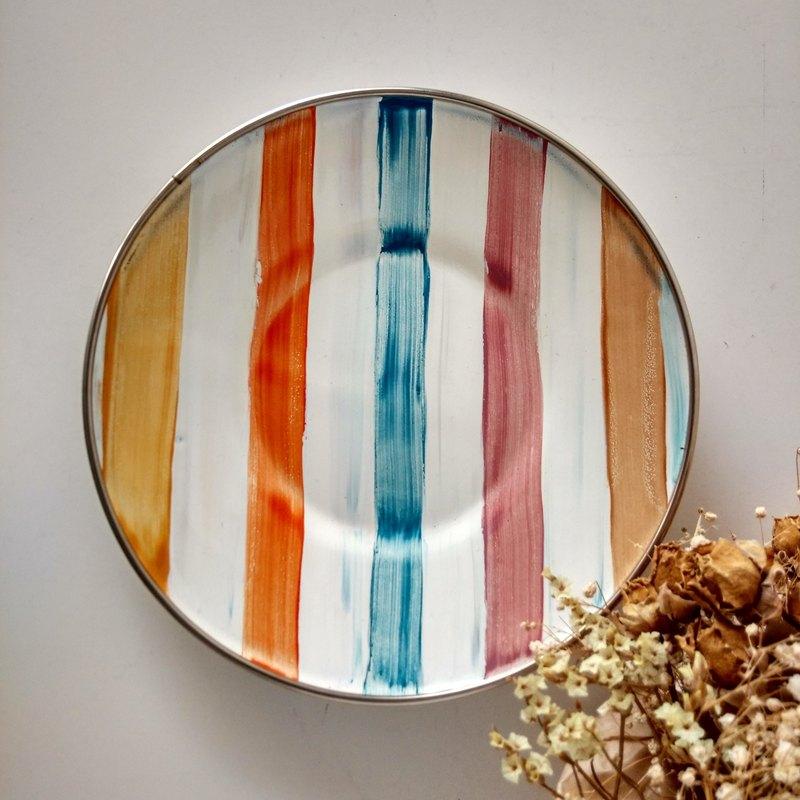 彩色條紋6吋彩繪琺瑯盤 附手作禮物包裝