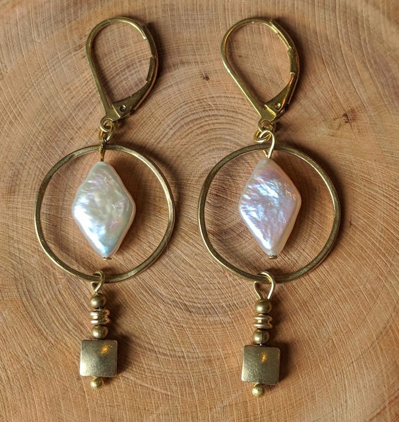 Brass and Pearl Drop Earrings