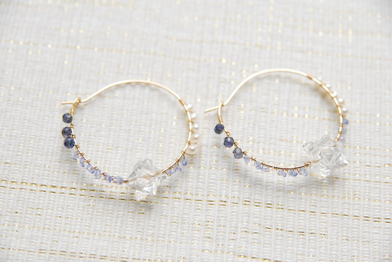 Blue star hoop earrings 14 kgf