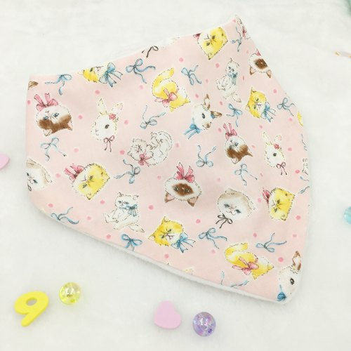 Triangle Bib - Pink Cat & Rabbit