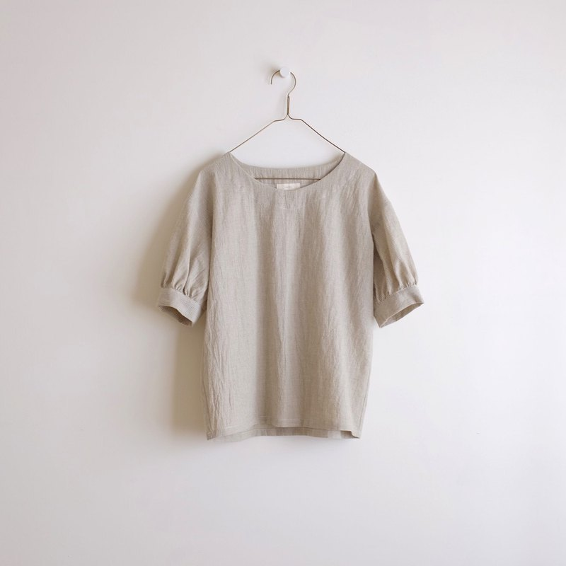 Daily hand-made clothes, weather, sunny, green, five-point, sleeves, blouse, cotton
