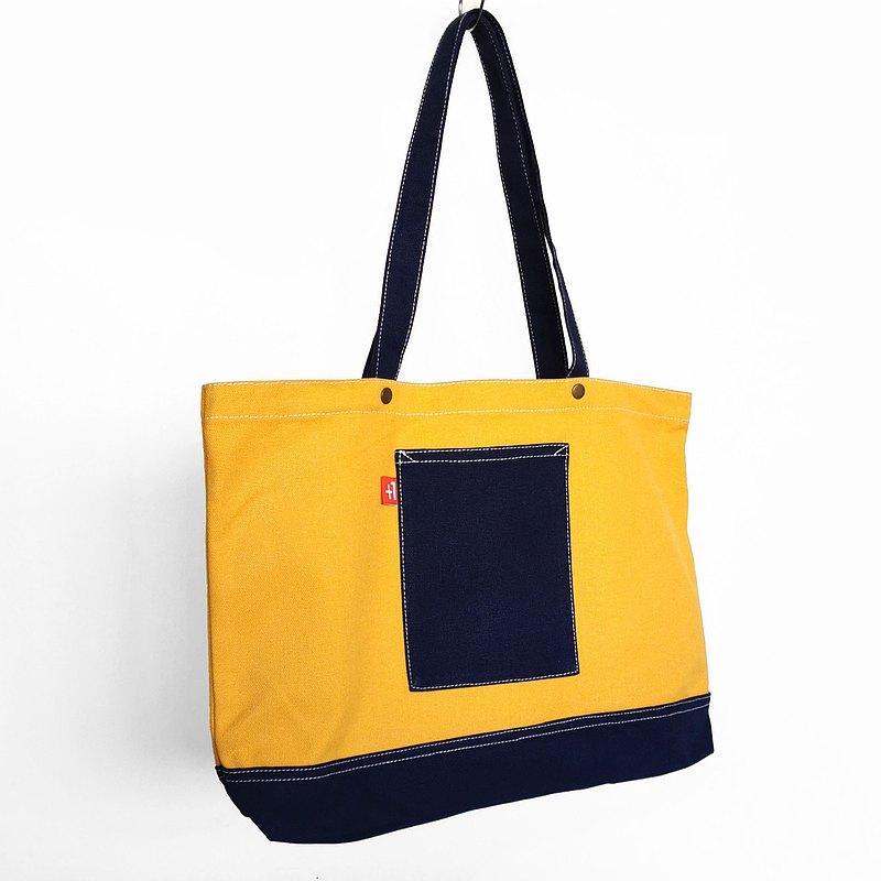 【換季特賣】Plus 1 橙配寶藍帆布三袋日系袋/帆布包/托特包