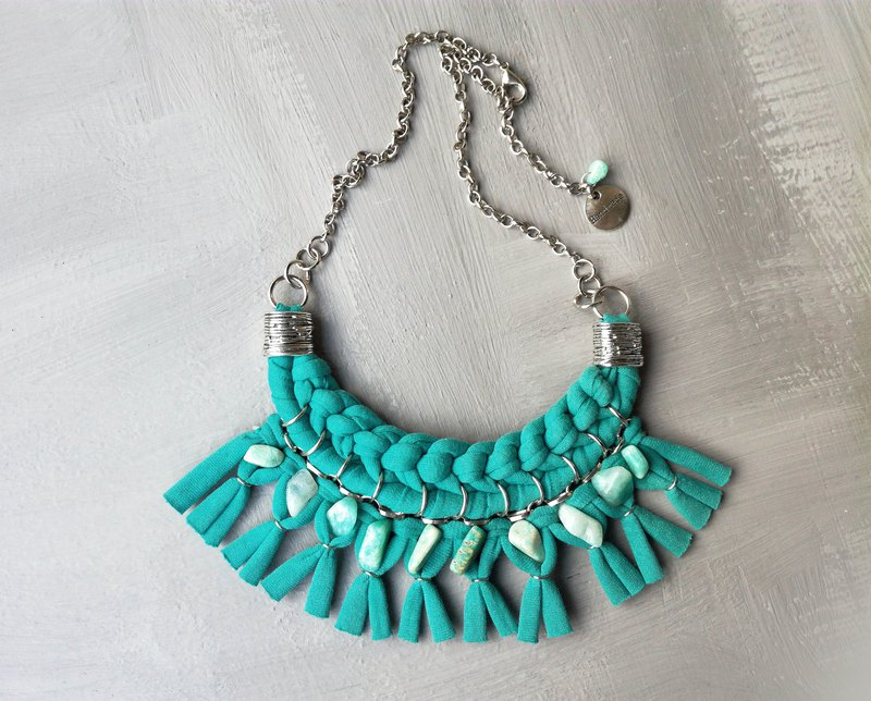 Amazonite Textile Woven Statement Necklace Sea Green
