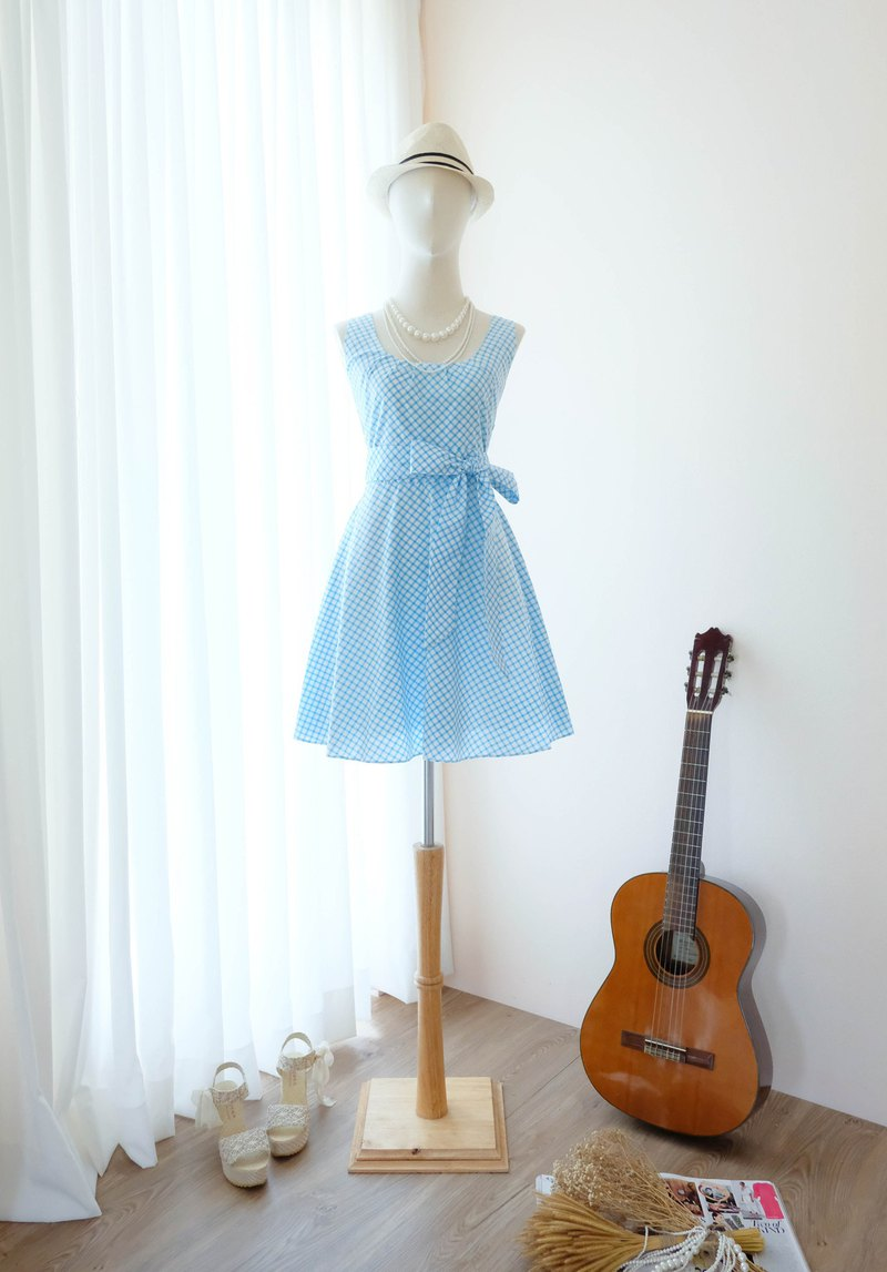 Cutie Blue check Sundress Spring Summer Tea Plaid Dress Vintage Inspired