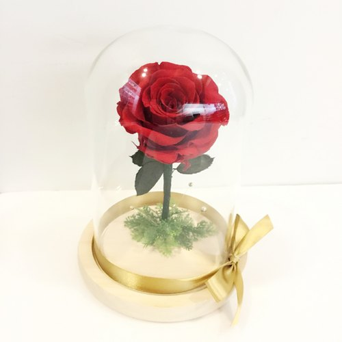 Not withered roses large glass flowers ceremony Little Prince beauty and the beast similar models are red
