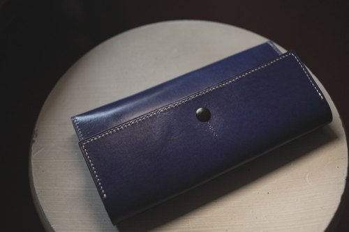 Limited 1 hand-sewn vegetable tanned cow leather blue ocean long clip / clutch bag / evening bag clutch bag