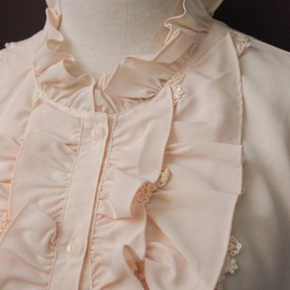Vintage Japanese-made French elegant flaming stand collar lace pink long-sleeved vintage shirt Vintage Blouse