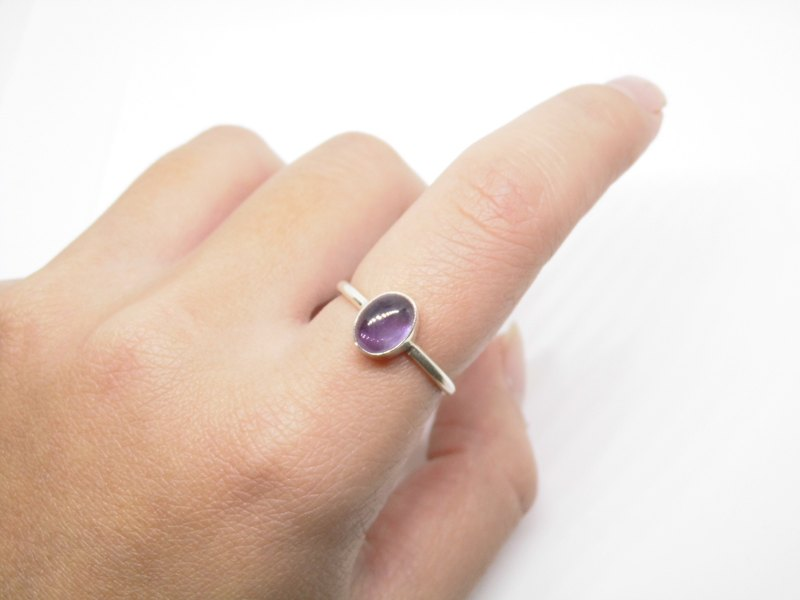 Egg noodles Amethyst Silver Ring Nepal to live a simple hand-inlaid Valentine gift birthday gift