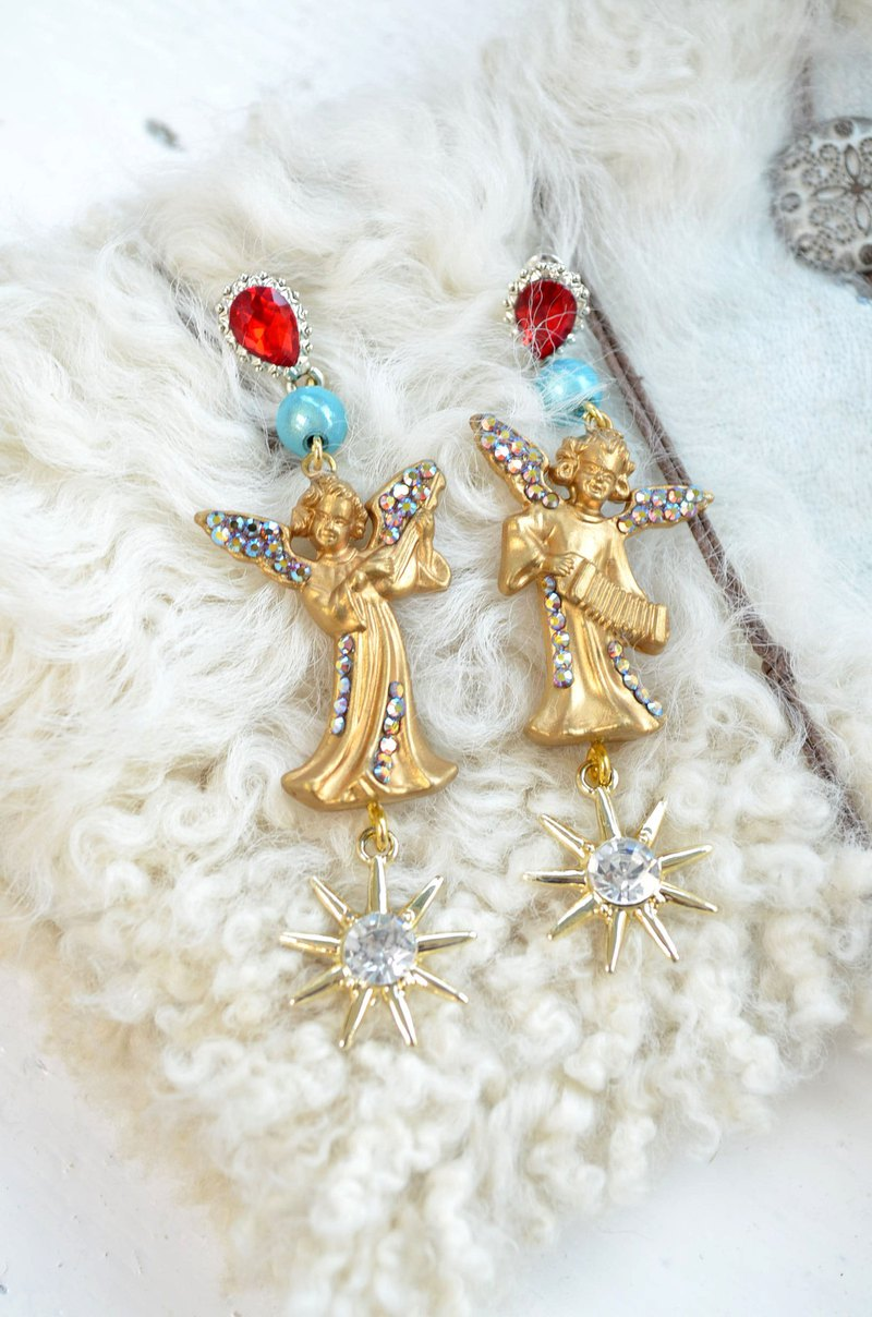 Gold Venus Goddess Angel Crystal Earrings