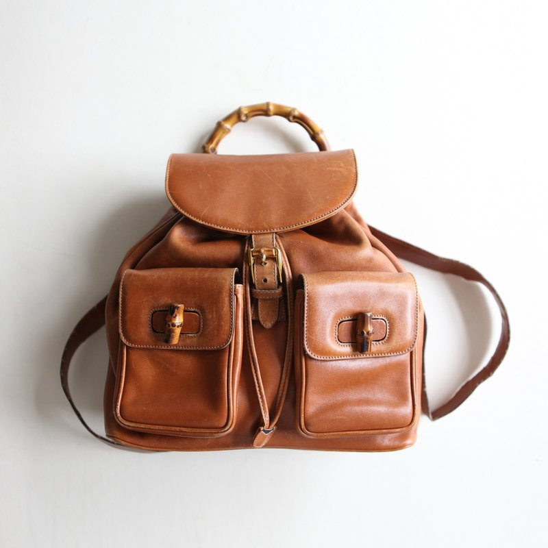 A ROOM MODEL - VINTAGE, BB-0771 GUCCI caramel bamboo Backpack