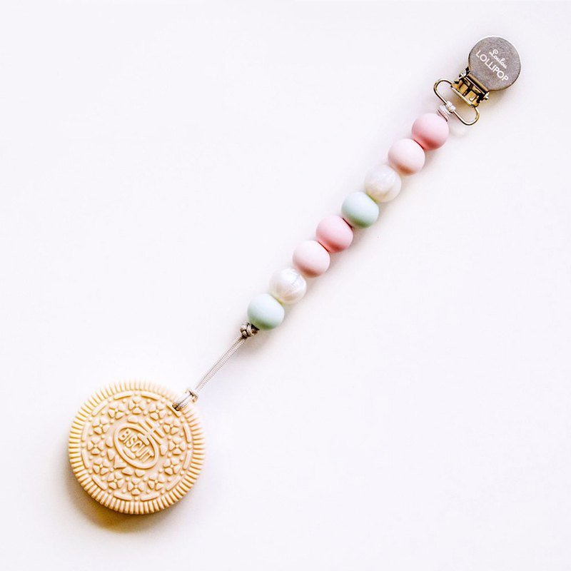 Loulou lollipop Canadian Cream Biscuit Solid Tooth / Pacifier Chain Clip - Rose Powder