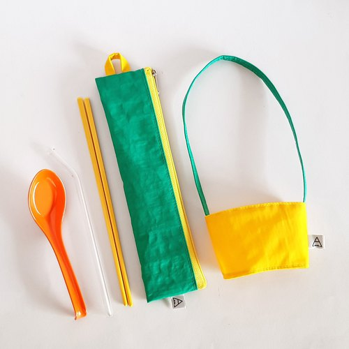 Eat more fruits and vegetables, good health / environmental protection tableware bag + beverage bag / exclusive group / sour lemon