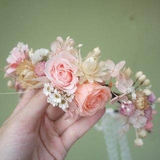 To be continued | Fenju gentle pink amaranth + dried flower wreath wreath wreath braided hair bun hair ornaments jewelry gifts the bride and bridesmaids wedding gift wedding photo outdoor photo styling wedding photography does not wither withered roses hyd
