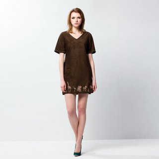 Chamois shift dress with animal pattern