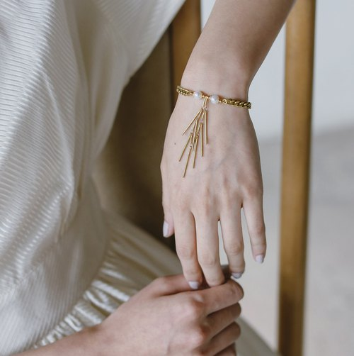 Brass fish bone pearl series - bracelet