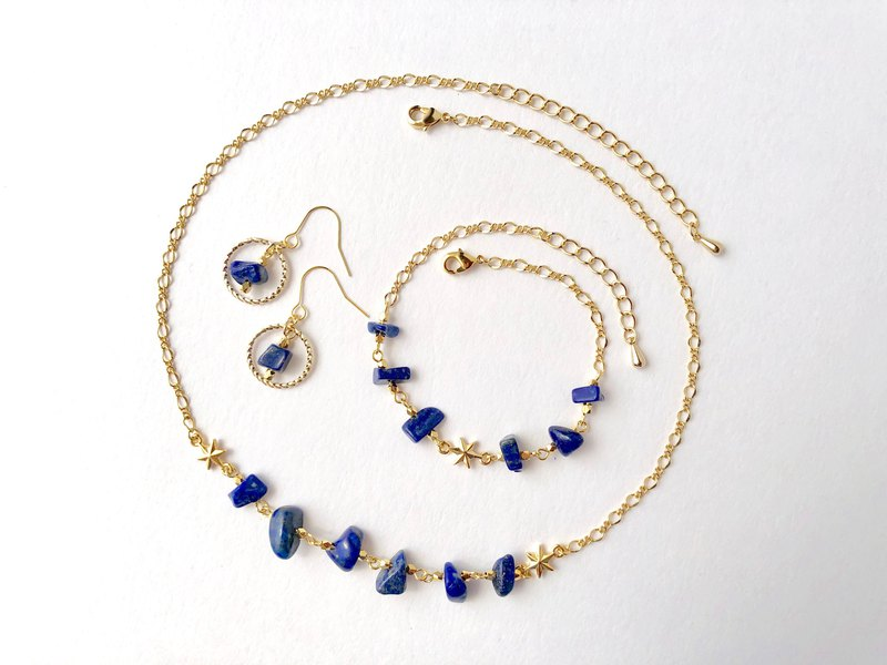Goody Bag 3-piece set Mysterious natural stone Lapis lazuli Necklace & bracelet & earrings or earrings [for metal allergy] Good luck amulet power stone