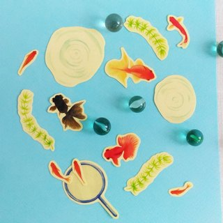 Summer fishing goldfish sticker set