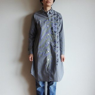 Long shirt gingham check black <U branch plum>