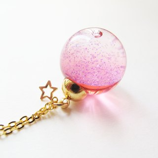 *Rosy Garden* Red galaxy liquid inisde gall ball necklace