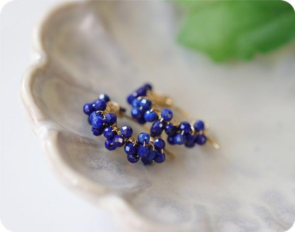 Original lapis lazuli 3 consecutive plums Hoop earrings / earrings available Good luck luck luck UP December birthstone