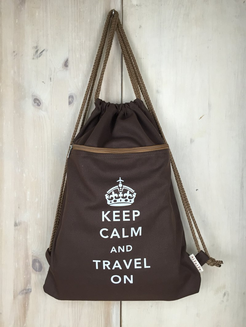 Keep Calm & Travel On Drawstring Backpack - Brown