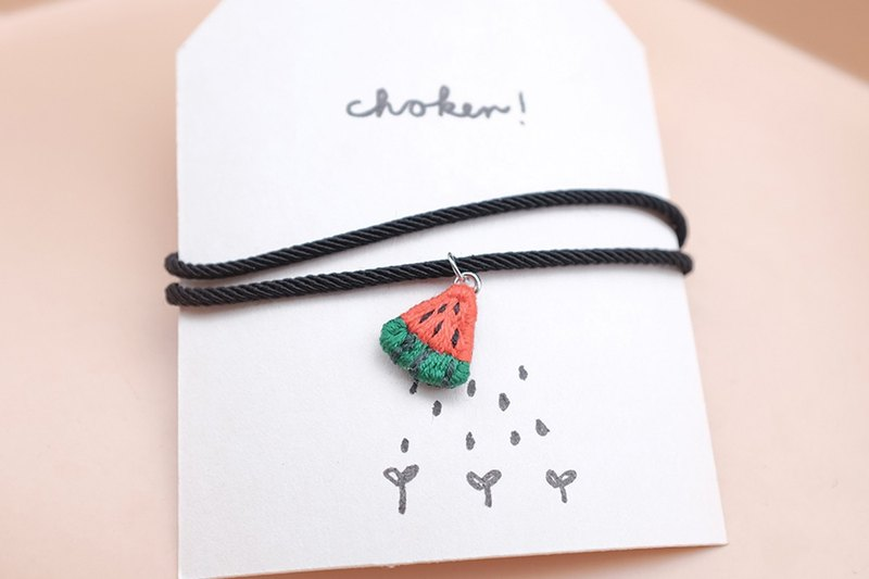by.dorisliu - emoji choker watermelon