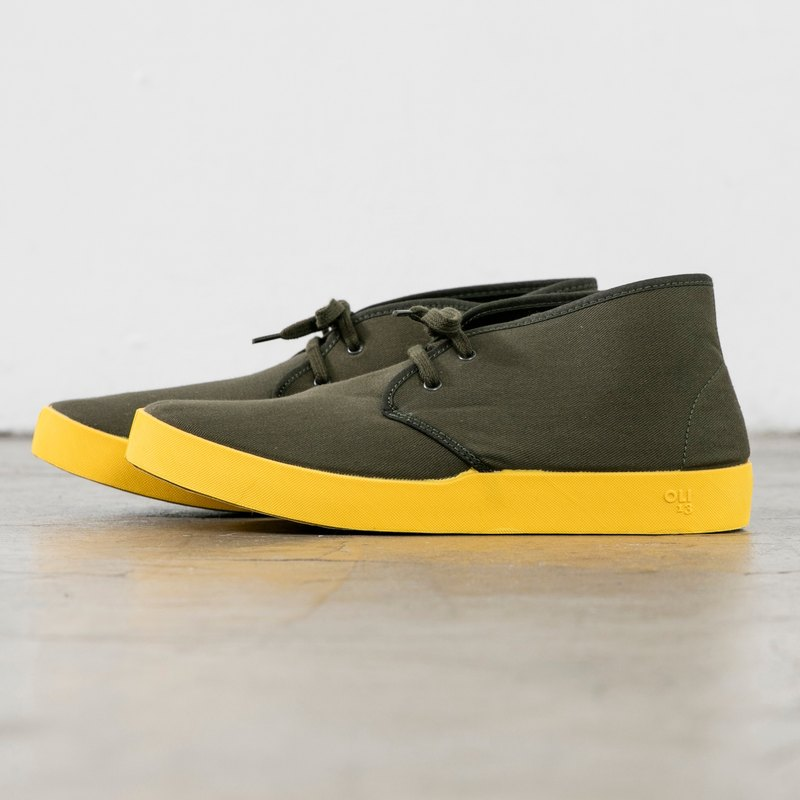 OLI13 half a barrel CHUKKA CHALK - Army green canvas shoes │ men and women shoes