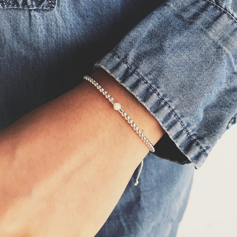 White Moonstone 925 Silver Transfer Small Beads Superfine Bracelet Women Simple Joker Cold Wind Hand Strap Bracelet Gift