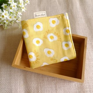 Cotton gauze handkerchief - delicious poached egg (yellow)