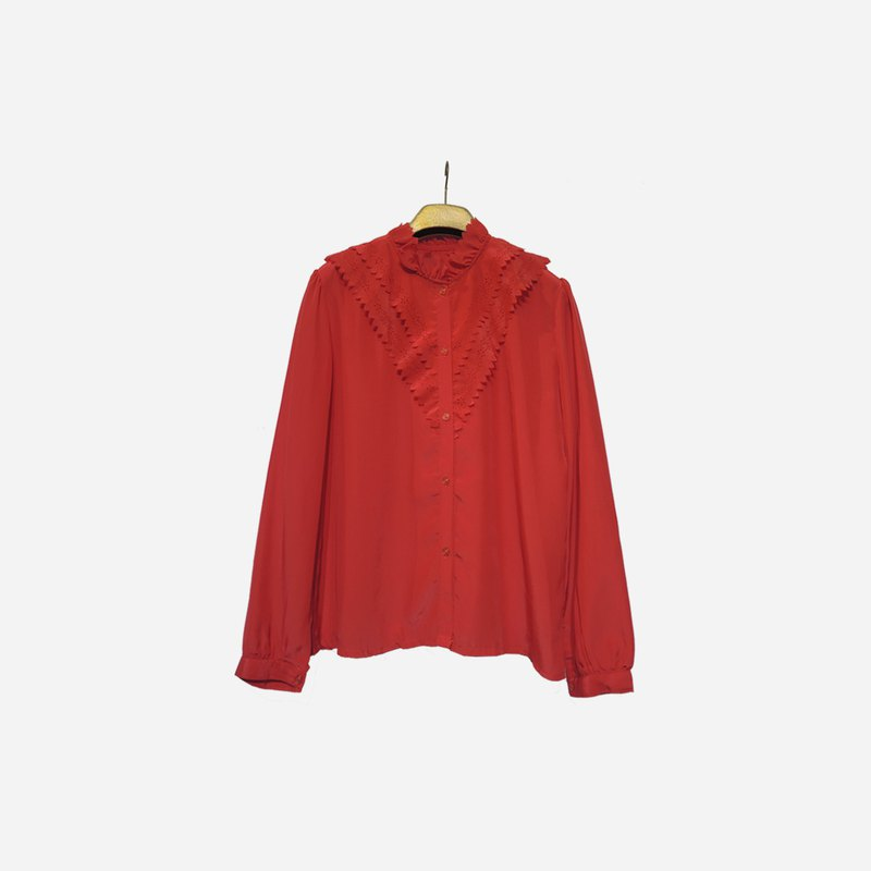 Dislocation vintage / stand collar long sleeve hollow red shirt no.1017vintage
